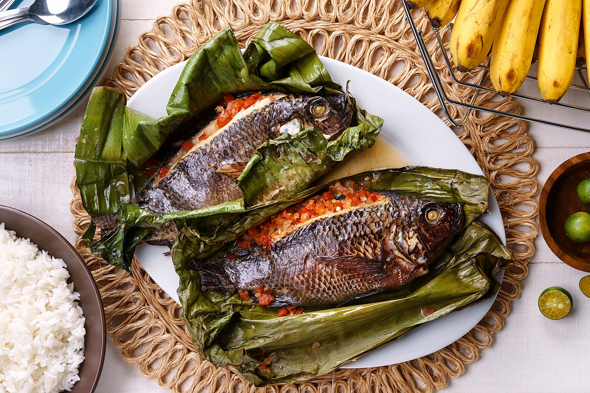 Steamed Tilapia in Banana Leaf