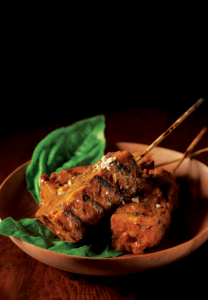 Grilled Curry Seitan with Peanut Sauce