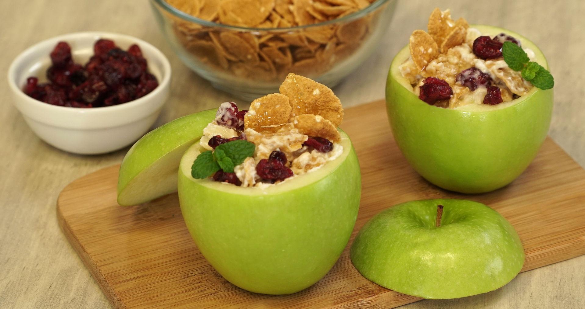 Manzanas rellenas con cereal