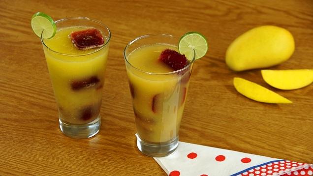 Agua de mango con hielo-chamoys