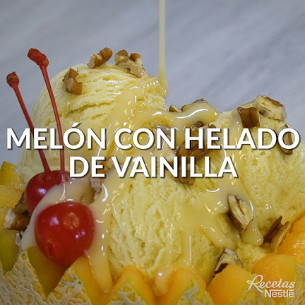 Melón con helado de vainilla
