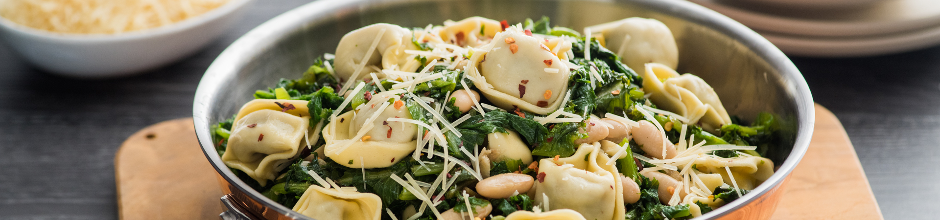 Tortelloni with White Beans and Escarole