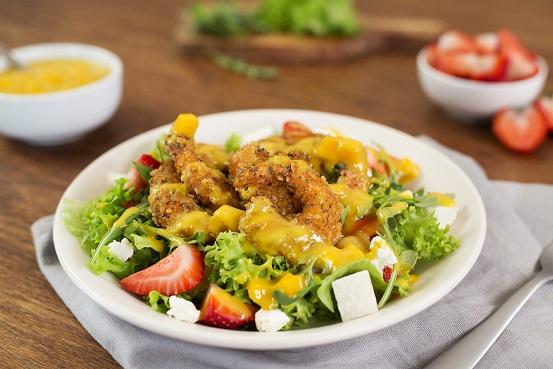 Ensalada con camarones y vinagreta de mango