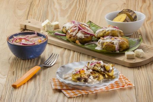 Croquetas de plátano con frijoles