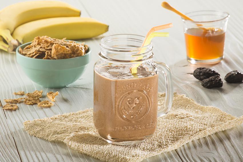 Licuado de cocoa, plátano y miel