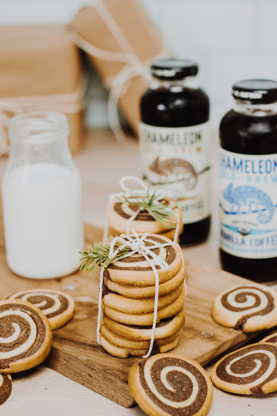 Chocolate & Vanilla Cold Brew Pinwheel Cookies