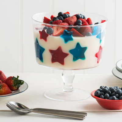 4th of July Stained Glass Gelatin Topped with Fresh Berries