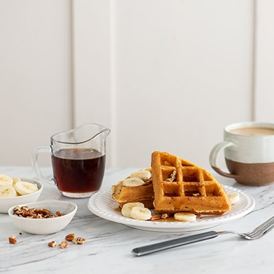 Banana Pecan Maple Waffles