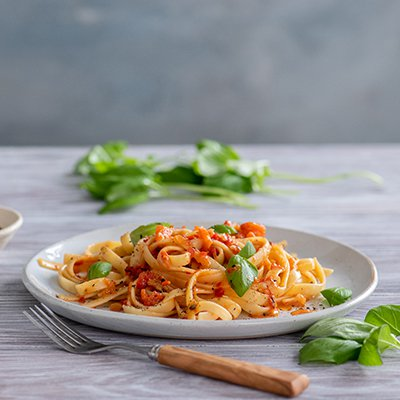 Creamy Roasted Red Pepper Sauce with Fettuccini