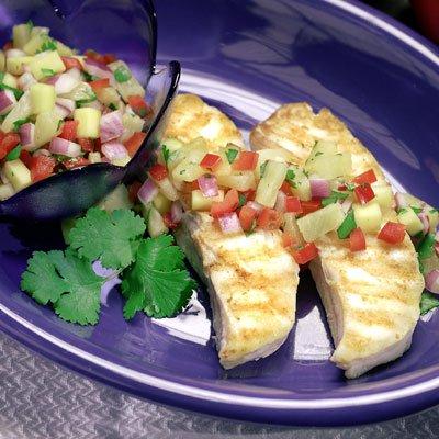 Pineapple-Mango Salsa over Grilled Halibut