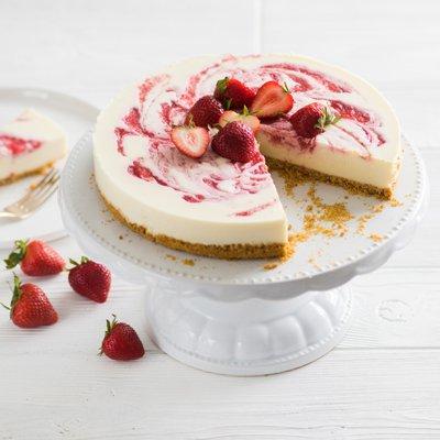 No-Bake Strawberry Swirl White Cheesecake