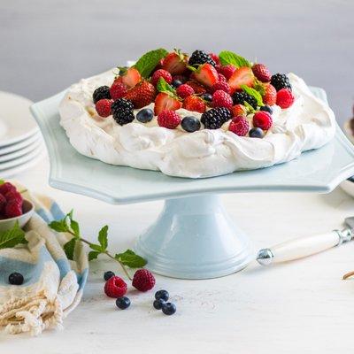 Pavlova with Sweetened Whipped Cream and Fresh Berries