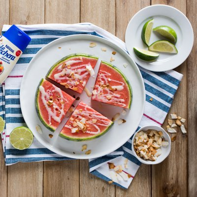 Sliced Watermelon with Sweetened Condensed Milk Drizzle