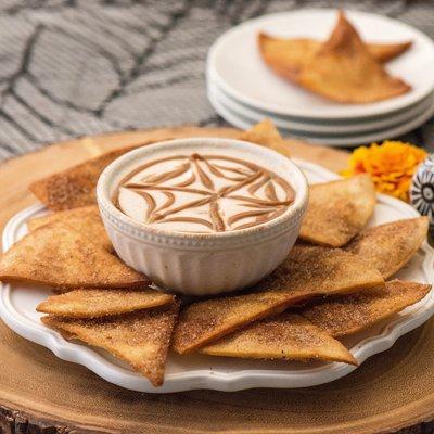 Mini Buñuelos with Marshmallow Yogurt Dip