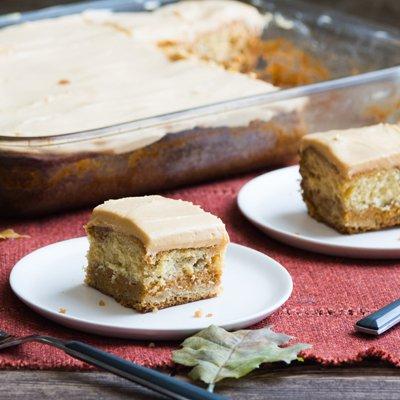 Pumpkin Magic Cake with Dulce de Leche Frosting