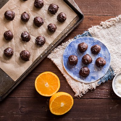 Chocolate Covered Coconut Snowballs