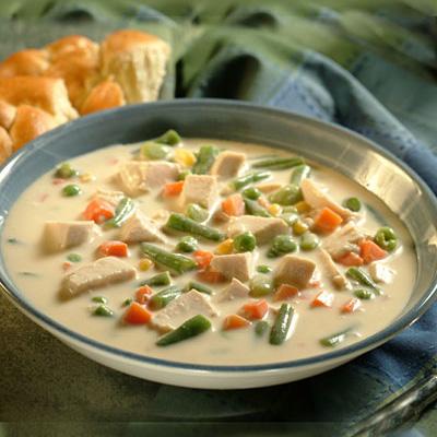 Sopa de Crema de Pollo y Vegetales