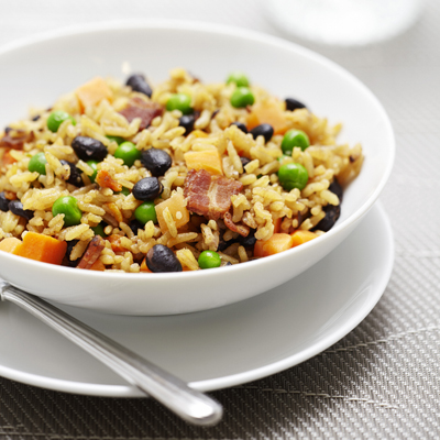 Rice with Black Beans and Bacon