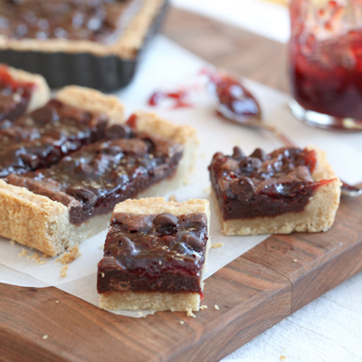Chocolate and Strawberry Jam Shortbread Bars