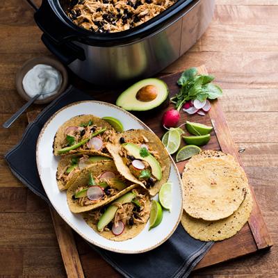 Tacos de Pollo en Olla de Cocción Lenta