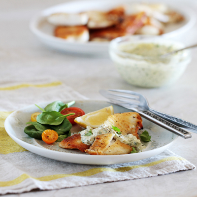 Tilapia with Cilantro and Green Chile Cream Sauce