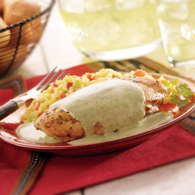 Cilantro Cream Sauce over Chicken