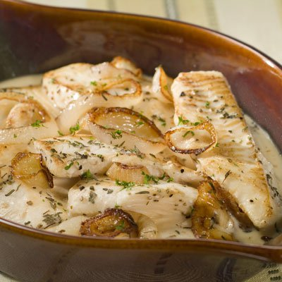 Fish Baked In Creamy Milk Sauce with Onions & Herbs