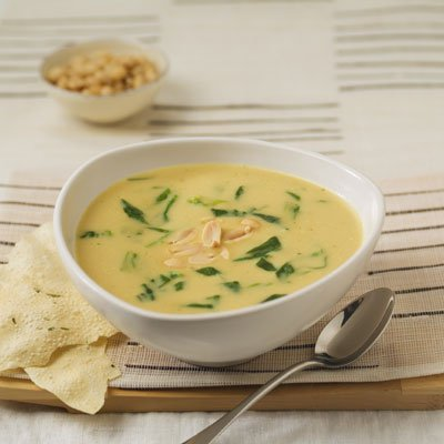 Creamy Curried Soup with Wilted Spinach