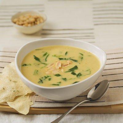 Cremosa Sopa de Espinacas con Curry