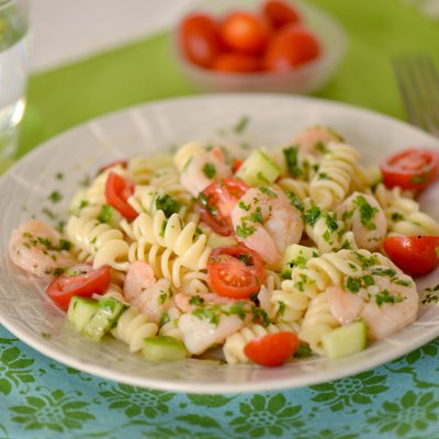 Shrimp Pasta Salad with Cilantro-Lemon Vinaigrette