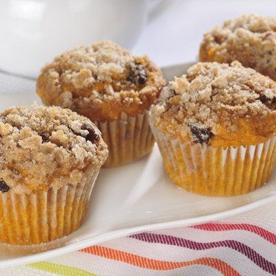 Muffins de Calabaza Cubiertos de Migajas