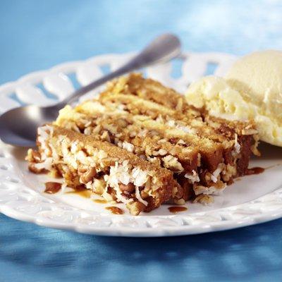 Layered Dulce de Leche, Coconut and Pecan Cake