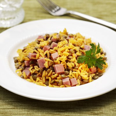 Rice with Lentils and Ham