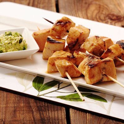 Grilled Swordfish Kabobs with Avocado Butter