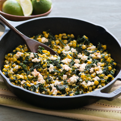 Street Corn with Spinach and Cotija Cheese
