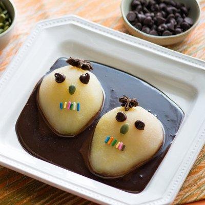 Calavera Pears in Chocolate Coffee Sauce