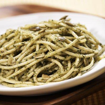 Pasta with Pepita & Cilantro Pesto Sauce