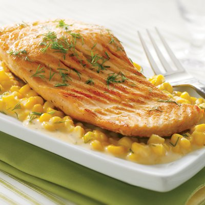 Salmon Fillets with Creamy Corn & Dill