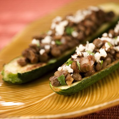 Zucchini Boats Stuffed with Lentils