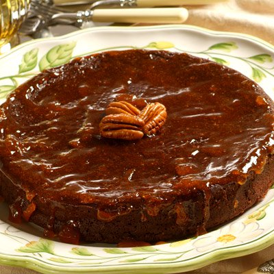 Flourless Chocolate-Pecan Cake with Apricot Glaze