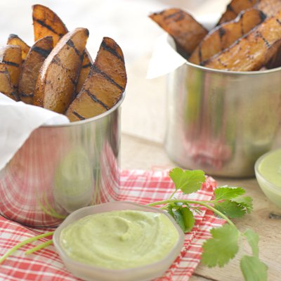 Grilled Potato Wedges with Dipping Sauces