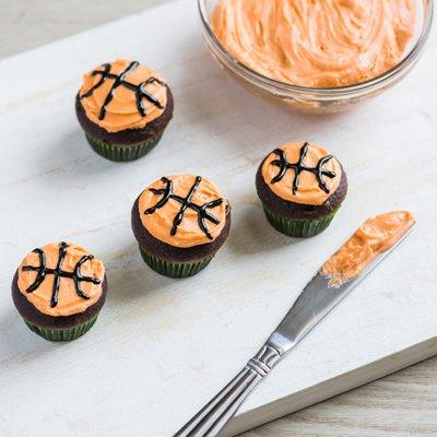 Dulce de Leche-Filled Basketball Cupcakes