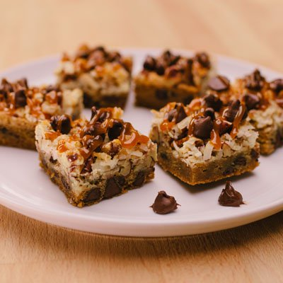 Coconut Caramel Pecan Cookie Bars