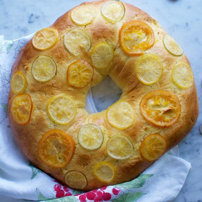 Candied Citrus Three Kings Bread with Sweetened Whipped Cream