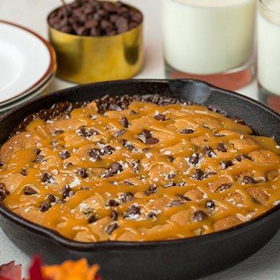 Chocolate Caramel Skillet Brookie