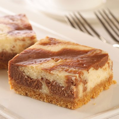 Swirled Peanut Butter Chocolate Cheesecake Bars