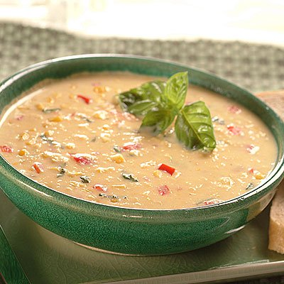 Creamy Corn Chowder with Basil