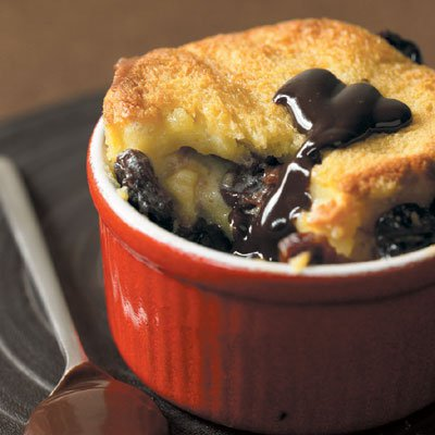 Warm Cherry Bread Pudding with Chocolate Sauce