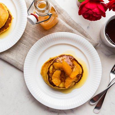 Pumpkin Pancakes with Orange-Ginger Syrup
