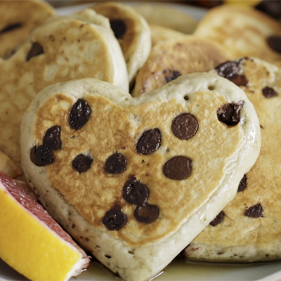 Blood Orange Chocolate Chip Heart-Shaped Pancakes